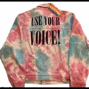 Levi's LGBT Tie Dye USE YOUR VOICE Denim Jacket